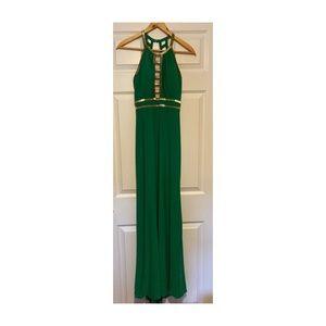 xscape green/gold prom dress